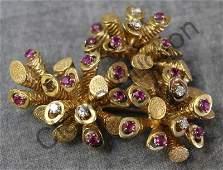 JEWELRY. 18kt Diamond and Ruby Italian Brooch.