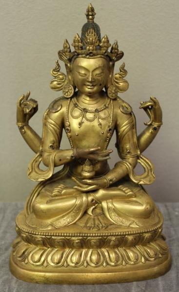 Antique Gilt Bronze Asian Bodhisattva.