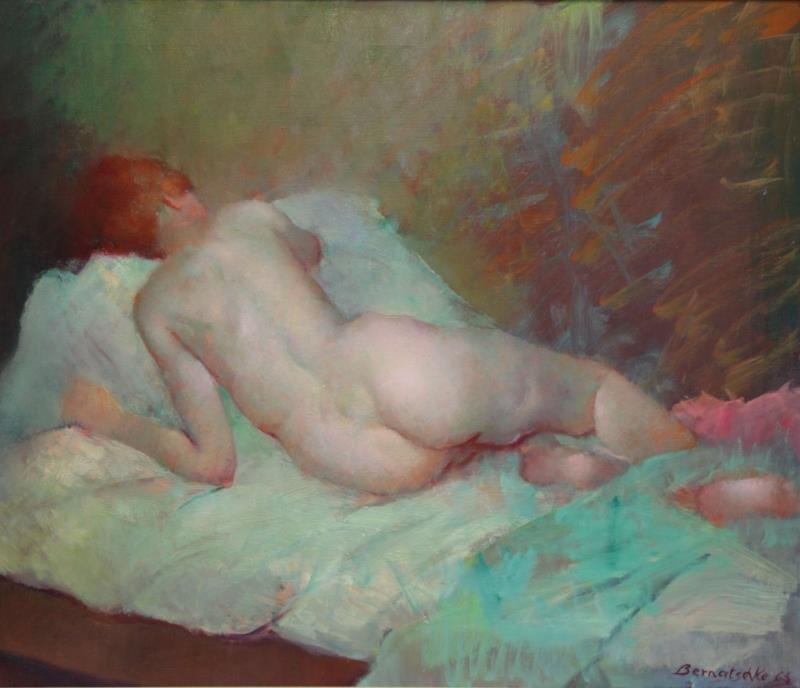 BERNATSCHKE, Rudolf. Oil on Canvas. Reclining Nude