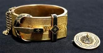 JEWELRY 14kt Gold Victorian Cuff Bracelet
