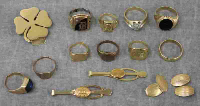 JEWELRY. Men's Miscellaneous Jewelry Grouping.