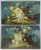 Pair of Decorative Antique Oil on Canvas Floral