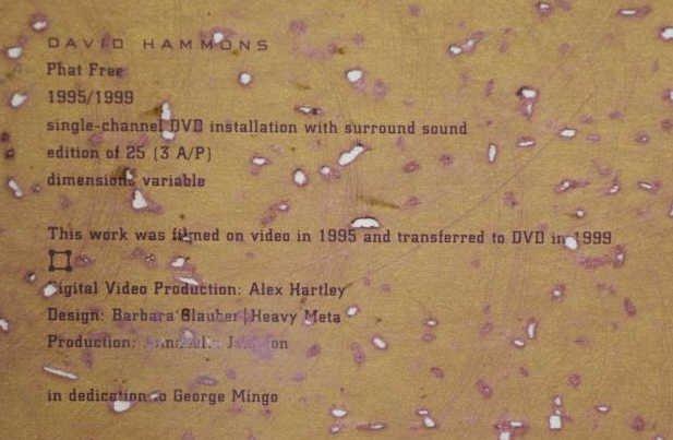 "HAMMONS, David. ""Phat Free"" DVD Installation. - 4"