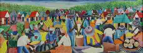 DOMOND, Wilmino. Oil on Canvas. Haitian Village