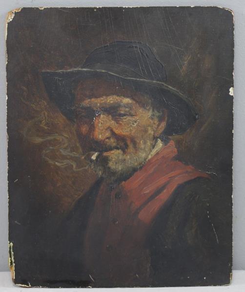 Singed 19th C. Oil on Panel. Man Smoking a