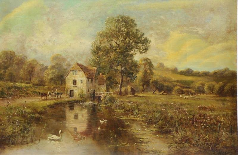 TURNER, G. 19th C. Oil on Canvas. Mill in