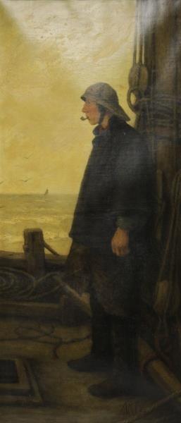 ARTZ, Adolph. Oil on Canvas. The Fisherman.