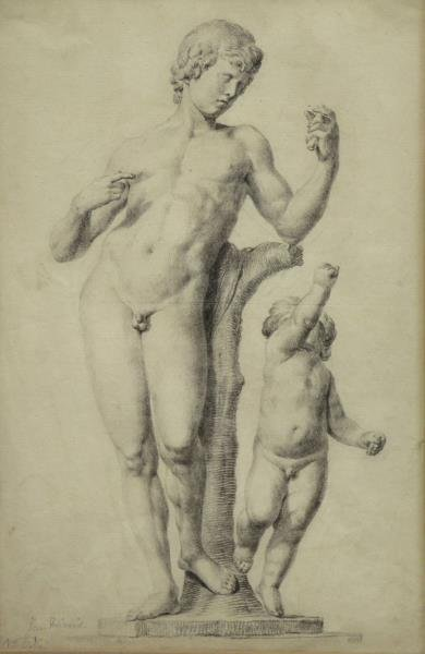 Old Master Graphite Drawing of a Faun and Putto.