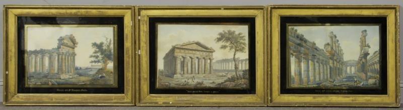 Set of 3 18th/19th C. Watercolor of Italian Ruins