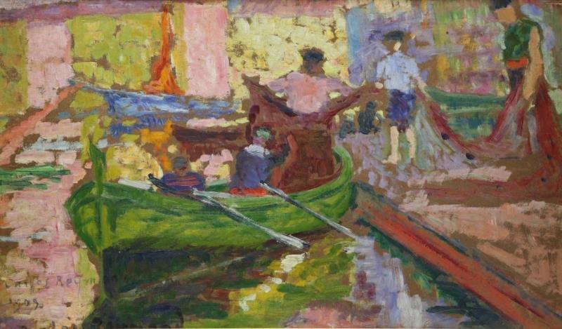 REYMOND, Carlos. Impressionist Oil on Board of