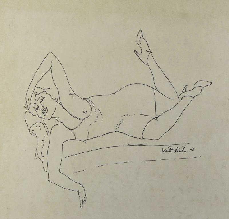 KUHN, Walt. Ink on Paper. Reclining Nude.