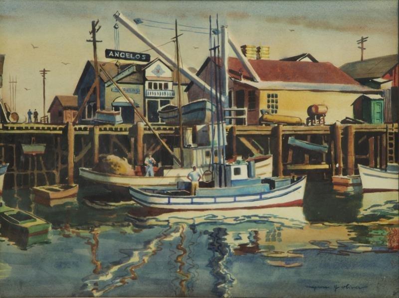 OLIVER, Myron. Watercolor. Harbor Scene.