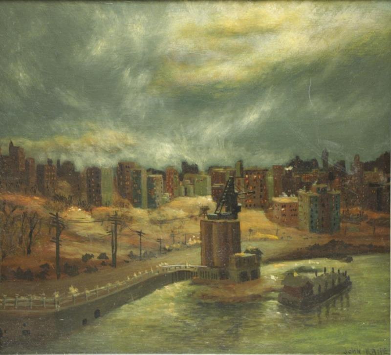 """KANE, John. Oil on Masonite """"Scene From the Bronx"""""""
