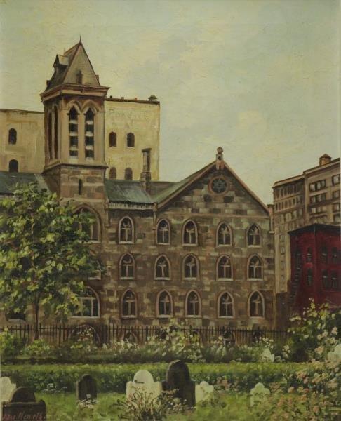 "NEMETH, Hans. Oil on Canvas. ""New York University"