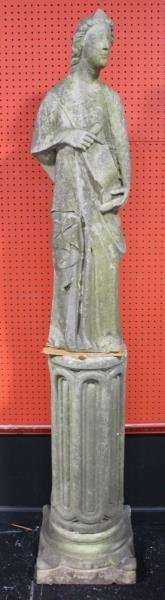 Antique Classical Marble Garden Figure of a Draped