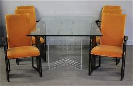 Unusual Midcentury Dining Set with Lucite  Brass