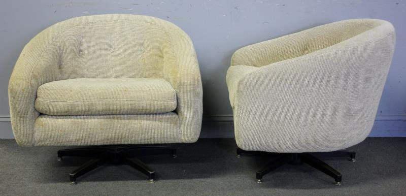 Midcentury Pair of Barrel Back Swivel Chairs.