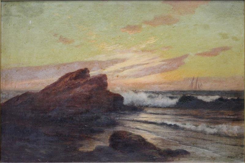 Oil on Canvas Seascape with Ship.