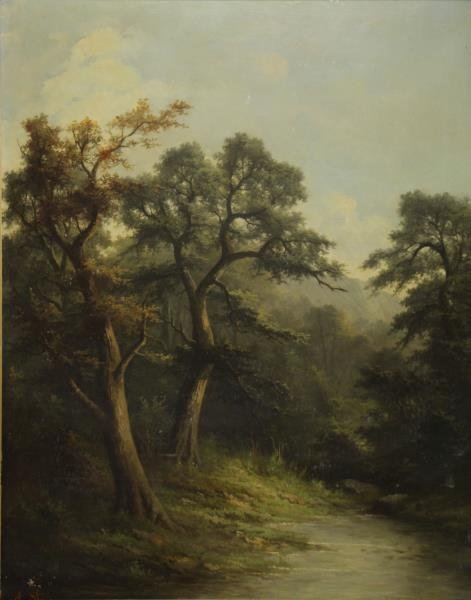 STONE, A. 19th C. Oil on Canvas. Forest Stream.