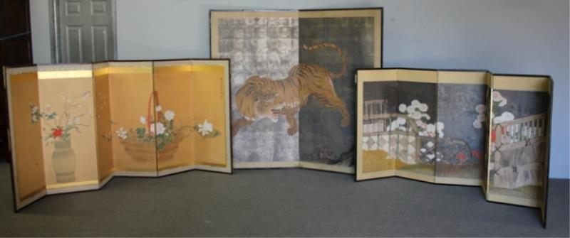 3 Vintage Asian Screens As / Is