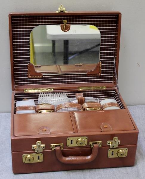 Vintage Mark Cross Leather Vanity Case.