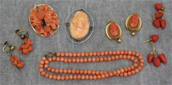 JEWELRY. Assorted Antique Coral Jewelry Grouping.