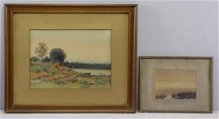 MOSER James Henry Two Watercolor Landscapes