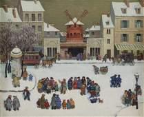 AXATARD, Jean. Oil on Canvas. French Snow Scene.