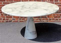 Angelo Mangiarotti Italian Marble Pedestal Table.