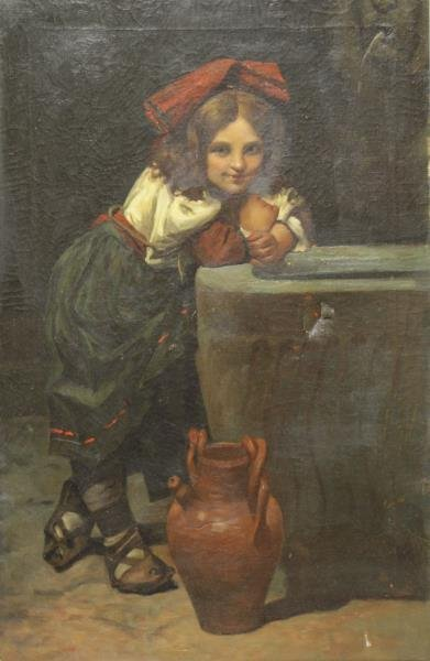 19th C. Oil on Canvas of a Girl at the Well.