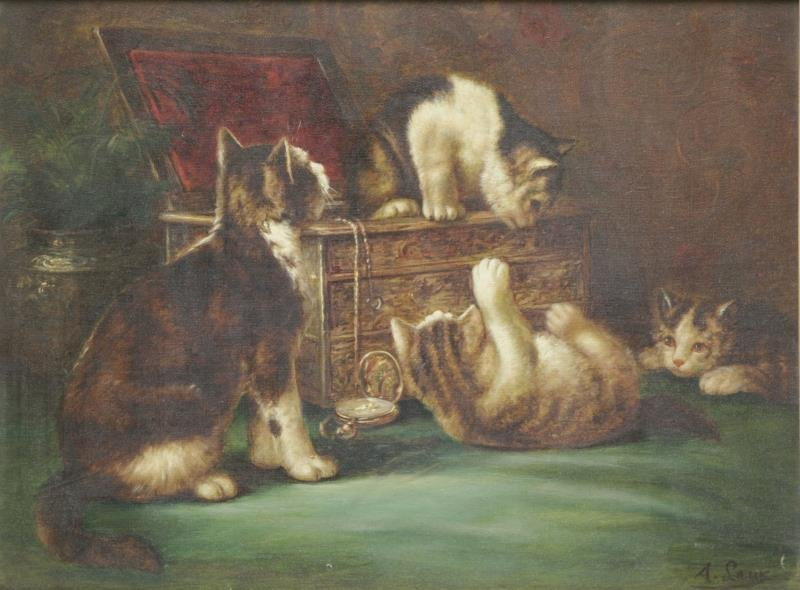 LAUX, August. Oil on Canvas. Cats in a Jewelry Box