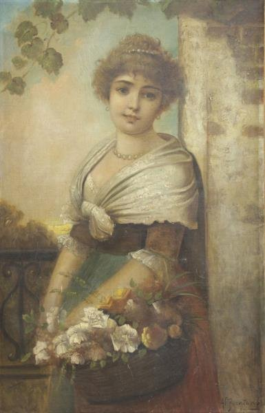 BRENTANO, Anton. Oil on Canvas. Woman with Flowers