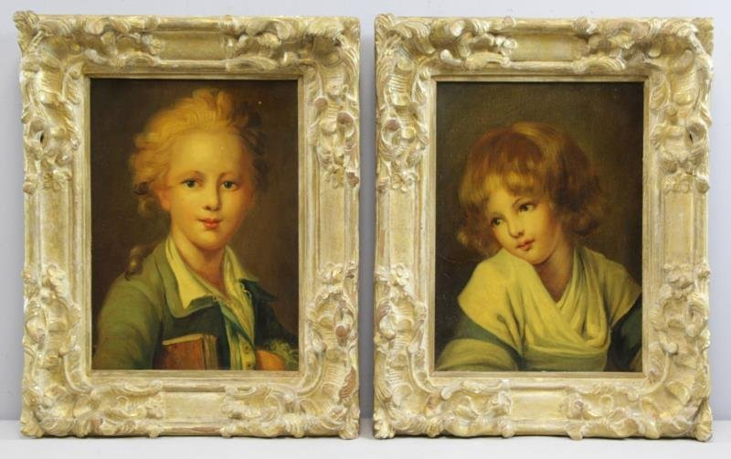 Pair of Oil on Canvas Portraits of Children.