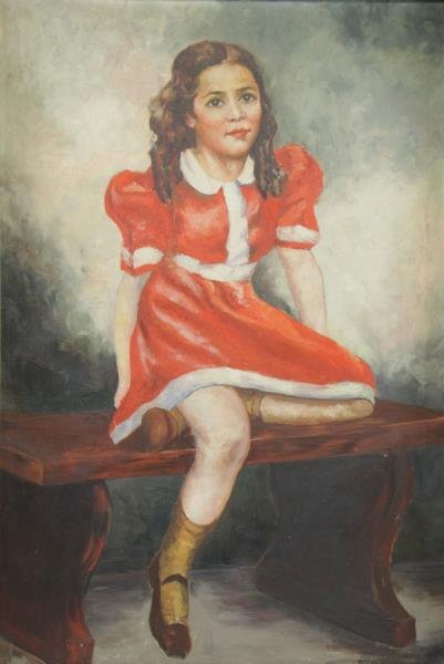 Early 20th C. Oil on Canvas Portrait of a Girl