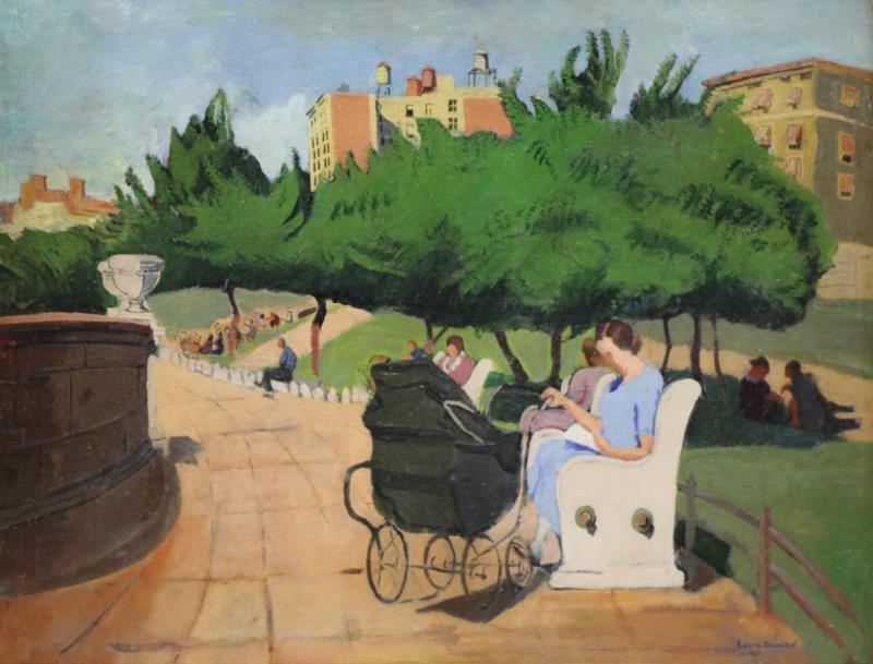BOUCHE, Louis. Oil on Canvas/Board. Park Scene.