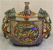 Impressive Vintage Chinese Silver and Enamel