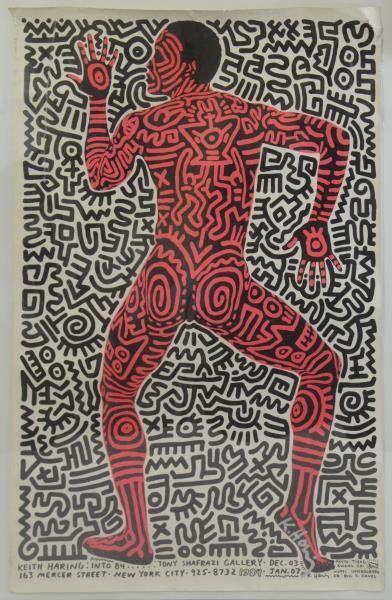 Keith Haring Signed Tony Shafrazi Gallery Poster.