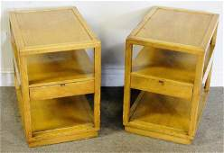 Midcentury Pair of Dunbar One Drawer End Tables.