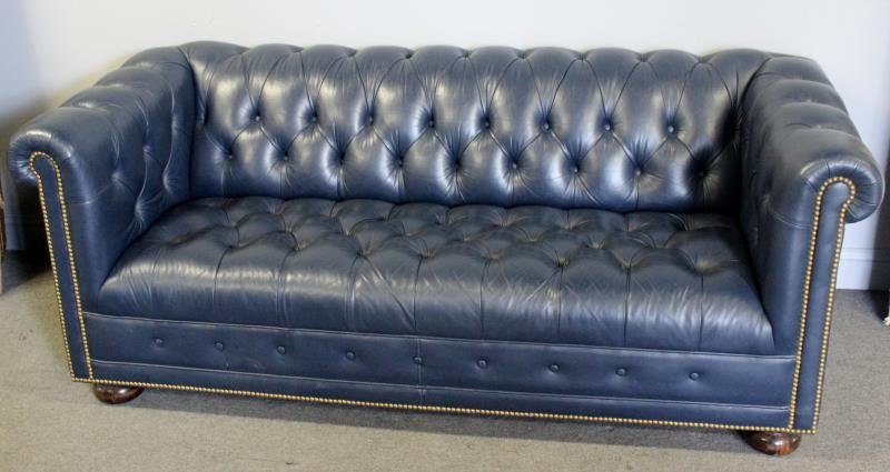 Quality Navy Blue Leather Chesterfield Sofa