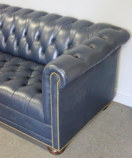 Quality Navy Blue Leather Chesterfield Sofa - 2