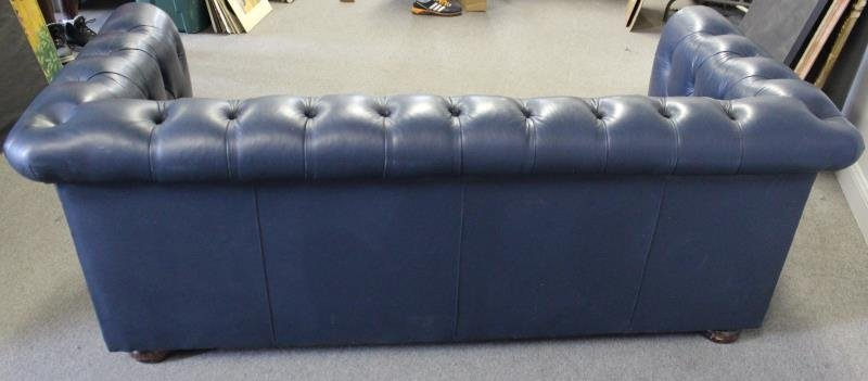 Quality Navy Blue Leather Chesterfield Sofa - 3