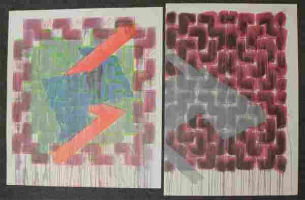 SMITH, Richard. Two Abstract Color Lithographs.