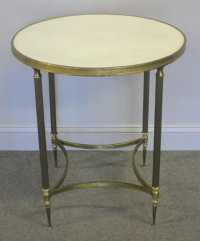 Marble Top Gilt Metal and Steel Center Table.