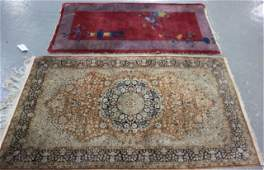 Lot Of 2 Vintage Throw Rugs To Inc A