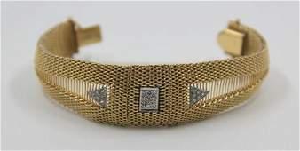 JEWELRY 14kt Mesh Bracelet with Diamonds