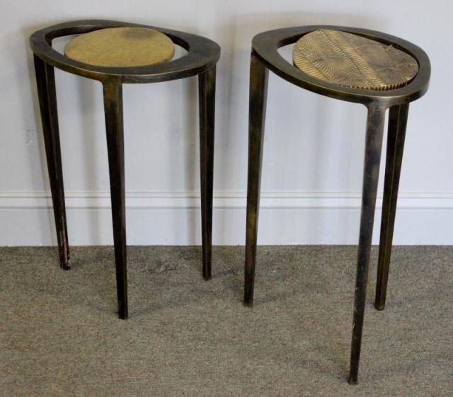 Modern Pair of R & Y Augousti Snakeskin & Bronze