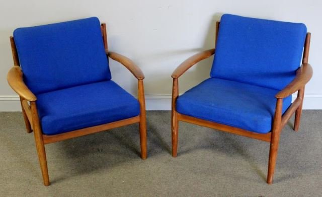 Midcentury Pair of Grete Jalk Lounge Chairs.