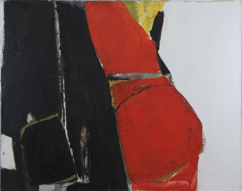 Mid 20th C. Oil and Collage on Canvas. Abstract