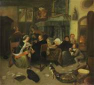 19th C Oil on Canvas after JAN STEEN Dissolute