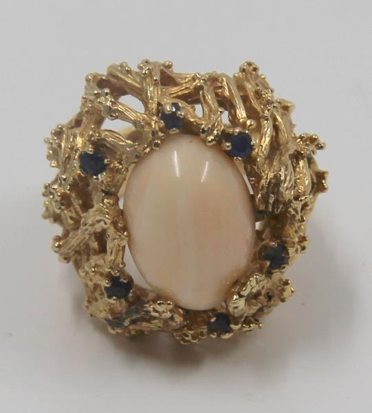 JEWELRY. Modernist 14kt Gold, Coral and Sapphire
